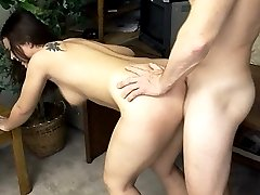 Stunning hairy chick Luissa Rosso arches her back getting her pussy pounded from behind
