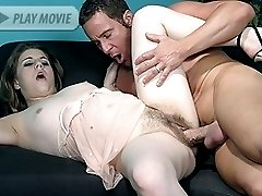 Lustful hirsute Nikki Knox hooks up with her fuckbuddy  and got her hairy pussy crammed with his hard dick