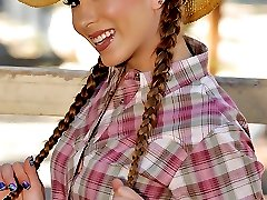 Check out horny cow girl get her ass pounded hard against the rodeo fence in these hot big bush...