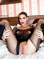Simona loves the erotic feeling of all that sheer black nylon over her body!