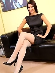 Sabrina in her little black dress and stockings