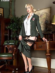 Sarge is in charge, of your privates! In this scene. her sexy long legs in nylons and her...