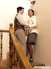 Awesome secretary in expensive pantyhose playing oral games on the stairs
