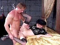 Leggy blonde in black stockings has anal sex