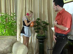 Sexy maid in smooth sheer hose services her master with her mouth and muff