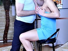 Dark-haired pigtailed wench strips naked to get it on with a much older guy