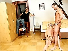 Her daughter walks in while she039s lavishing her son-in-law039s dick with her mouth.
