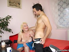 He loves to have his cock in wet old pussy and this blonde is the perfect specimen for him