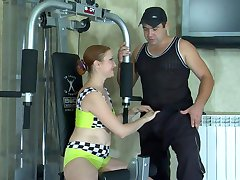 Sporty milf lures her coach into getting down and dirty after the training