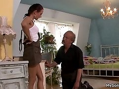Mean geezer uses a tricky plot to have his sons gf on his thick hard shaft