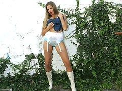 Outside stocking and slip striptease