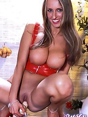 Sarah large tits babe in red riding a big hard dildo