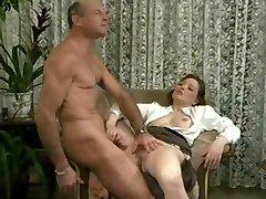 Hairy Helene Fondles Cock
