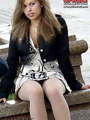 Upskirt flashing in public