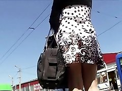 Best upskirt white thong in transport