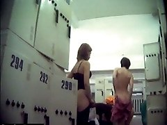 Locker room cam snapped semi-nude hotties