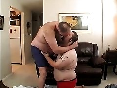 Fat dad fucks fat son