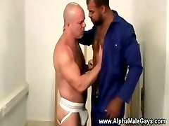 Horny bear gets dick sucked from muscly stud