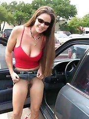 Hot amateur sluts cant resist temptation in a car