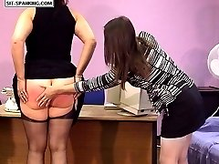 Enormous sexy ripe ass caned over the desk - hot brunette in tears