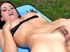Hot ass babe with sexy big bush strips in the park then gets nailed in her box in these hot...