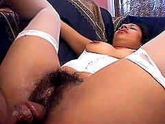 Sexy ebony babe with hirsute pussy gets fucked