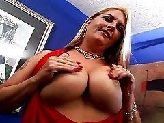 Huge Tits Joclyn Gets Her Hairy Twat Inspected