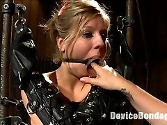 In the final chapter of Chastity Lynn\'s Live Show, she is suspended spread eagle with speed rail and our ratchet strap system, leaving her cunt and as nice and exposed. Her arms are slipped into opera length leather bondage mitts and the drool from the open cone gag slips down her breasts. Mz Berlin steps in and warms her up with an extra special cunt flogging. Audrey Rose is then dragged in with elbows together bound in metal and required to service both Chastity\'s ass and cunt at the urging of Mz Berlin. Claire adds the cherry on top by hammering Chastity\'s ass with the flogger and milking what seems to be a million orgasms from this cum begging cunt for the finale.