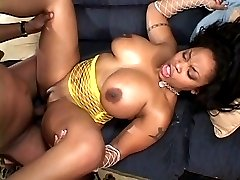 Busty ebony licking cum off huge black cock