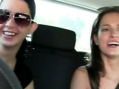 Girlfriends Fit babes eat hot wet pussy on back seat of car