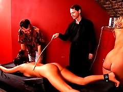 Hot blonde brutally caned on her firm ripe ass - severe cane stripes