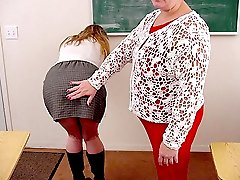 Chubby blonde professor spanked after spanking beautiful teen