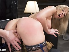 Top notch talent agent Chanel Preston is fed up with entitled actress Zoey Monroe making her firm look bad. This gorgeous ungrateful blonde bombshell needs some serious discipline slapped into her. Starting with her perfectly round ass, Chanel rips off Zoey's clothes and spanks that ass bright red. A leather crop teaches Zoey's huge tits a lesson in corporal punishment before Chanel shoves her whole fist up Zoey's tight wet pussy. Tied up tight in rope bondage and leg spreader, Zoey's body is covered in a clothespin zipper. She is made to worship at the feet of Chanel Preston. Licking her high heel boots, and putting her stocking covered foot deep down her throat. Next Chanel sits on her face for lesbian pussy licking before bringing out the hitachi for explosive orgasms. Finally bringing this lesson in discipline full circle, Chanel straps on a huge dildo for some deep anal strap on fucking.