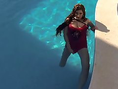 Sabrina Deep Plays in the Pool