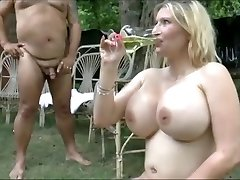 Naughty chubby GF flashes huge breasts