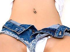 asian teen in short jean shorts