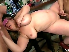 The two guys team up to bang the BBW party girl and give her pussy just what it needs
