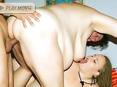 Mature plump models Agnes Eva and Anna Marie take turns in sucking and fucking a cock in this...