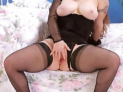 Pretty Hot Fat Babe in Black Lingerie with Spreading Pussy
