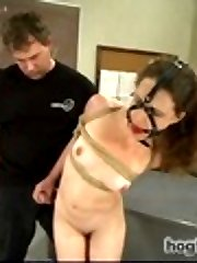 Super Hot starlet Katrina Jade brings her all natural double H tits to HogTied to get tied up,...