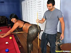 Hot horny big round ass black babe gets her juicy pussy fucked on the red pool table hot xxx...