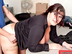 Young fattie got her smooth pussy eaten and fucked by her future boss for a bonus