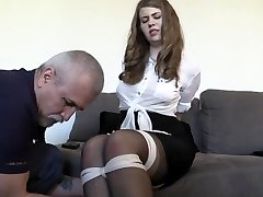 Male cock and ball submission at a femdom examination