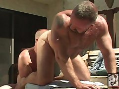 Muscle Bears Rik Kappus and Clint Taylor Fuck on the Patio