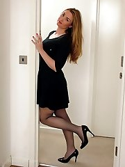 Hot babe Anna cant decide whether to tease you inside or outside wearing her silky nylons and...