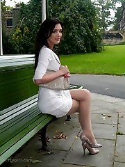 Gorgeous babe Faye Taylor invites you to join her in the park, to admire her silky nylon pantyhose and her lovely high stiletto shoes
