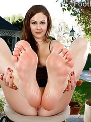 Tina doesn't like her boyfriend eating bad food. So she offers her feet to him. He sucks and licks and eats those perfect toes until his cock is hard. She strokes that hard dick with her pretty toes. She needs to feel that cock in her pussy and they fuck until he comes on her feet.