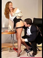 Office slut Liz fucked in hot stockings