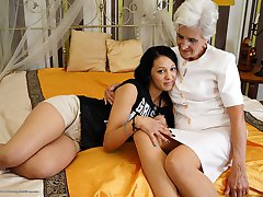 horny old and young lesbian couple making out