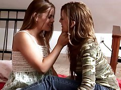 Hot lesbians Heather Silk and Mia Presley kiss before licking each others tight little cunts